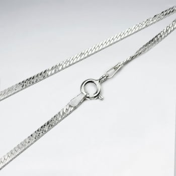 Flat Double Curb 925 Silver Chain