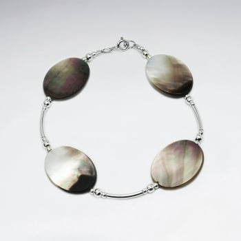 Flat Oval Mother Of Pearl & Sterling Silver Beads Bracelet