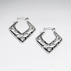 Flattering Bold Silver Diamond Shape Textured Earrings