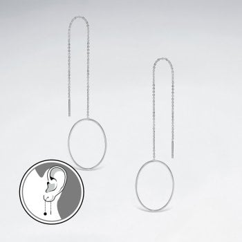 Flirty Fun Silver Openwork Oval Threader Dangle Earrings