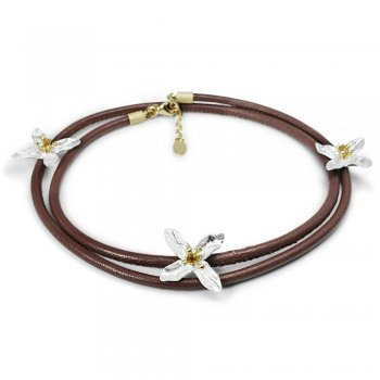 Floral Nature Bracelet in Brown Leather and Sterling Silver