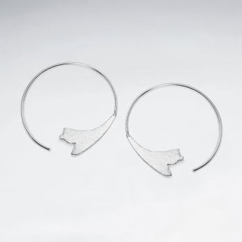 Floral Silhouette Sterling Silver Hoop Earrings