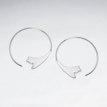 Floral Silhouette Sterling Silver Hoop Earrings