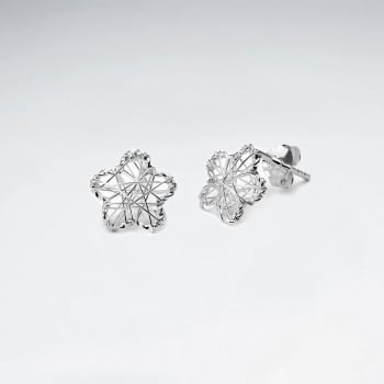 Floral Silver Wirework Stud Earrings