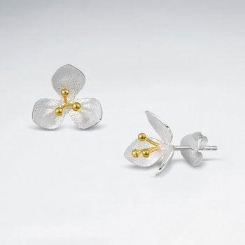 Floral Stud Flower Earrings in Sterling Silver