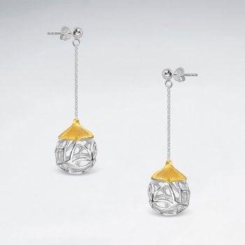 Flower Ball Chain Drop Earrings in Sterling Silver