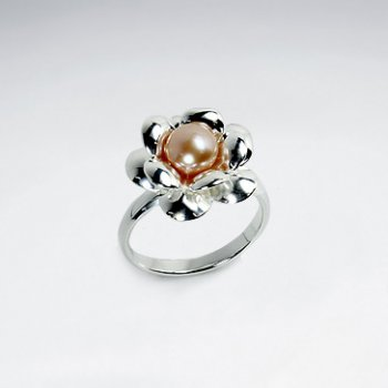 Flower Blossom Blushing Pearl Silver Ring