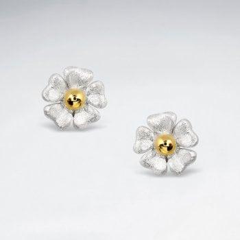 Flower Blossom Earrings in Sterling Silver