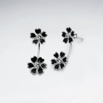 Flower Bouquet Stud Drop Earrings in Sterling Silver