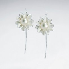Flower Burst Pearl Studded Sterling Silver Earrings