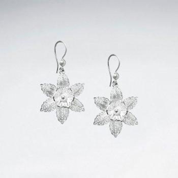 Flower Dangle Sterling Silver Earrings Jewelry Shepherds Ear Hooks