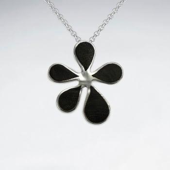 Flower Design Natural Wood Silver Pendant