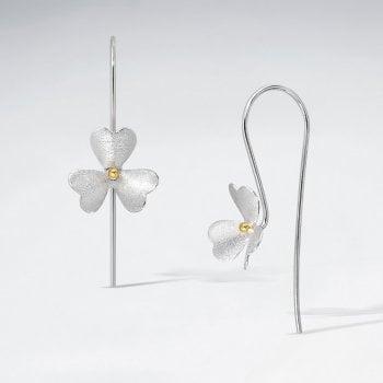 Flower Hook Earrings in fine Sterling Silver