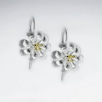 Flower in Blossom Sterling Silver Drop Earrings