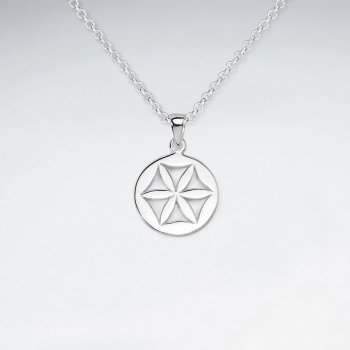 Flower Inspired Cutout Pendant in Sterling Silver