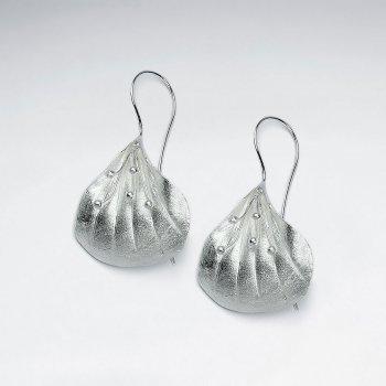 Flower Inspired Silver Drop Hook Earrings