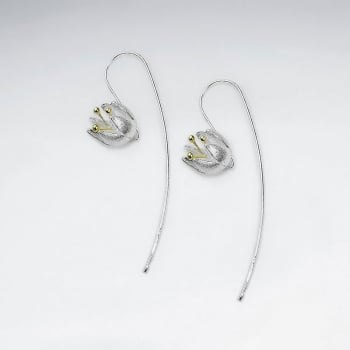 Flower Long Hook Earrings