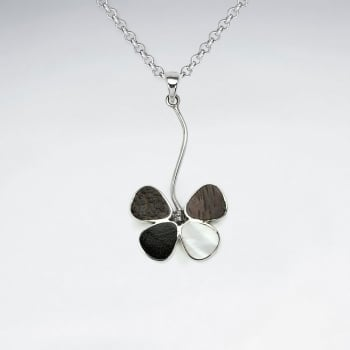 Flower Natural Mix Wood Silver Pendant