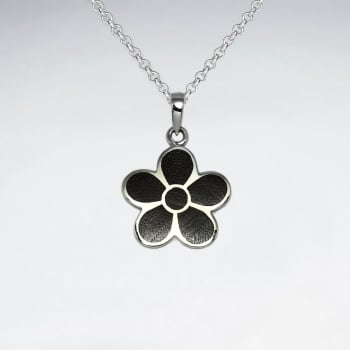 Flower Natural Wood Silver Pendant