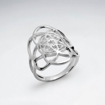 Flower Of Life Curve Wrap Silver Ring
