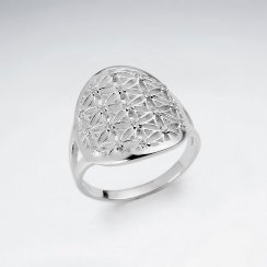 Flower of Life Silver Ring with White CZ