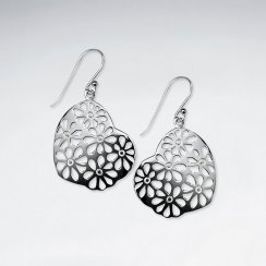 Flower Scattered Filigree Organic Shape Dangle Hook Earrings