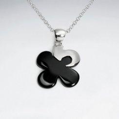 Flower Shape Black Stone Silver Pendant