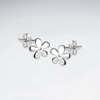 Flower Silhouettes Polished Sterling Silver Earrings