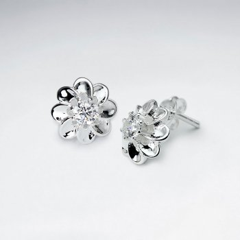 Flower Silver Eatting With White CZ