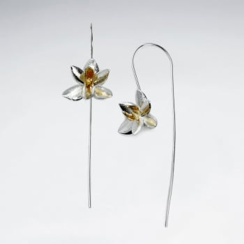 Flower Threader Hook Sterling Silver Earrings
