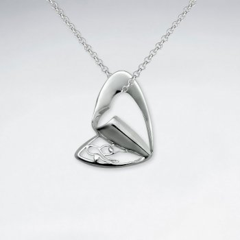 Folded Urban Heart Inspired Cutout Silver Pendant