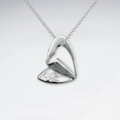 Folded Urban Heart Inspired Cutout Silver Pendant