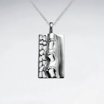Footprints Rectangle Cutout Design Silver Pendant