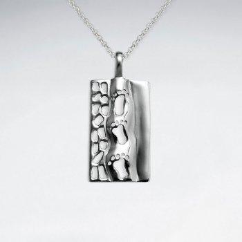 Footprints Rectangle Cutout Design Silver Pendant