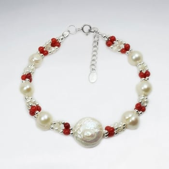 Forever Memories Coral & Pearl Ball Bead Bracelet