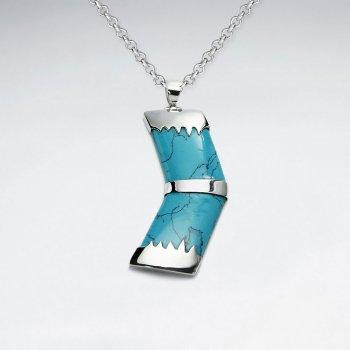 Forward Blue Howlite Silver Pendant