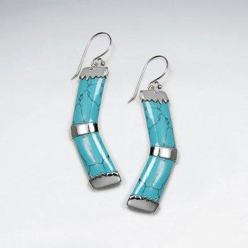 Forward Shape Blue Howlite Silver Dangling Earring