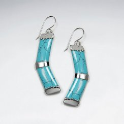 Forward Shape Blue Howlite Silver Dangling Earring