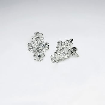 Four Little Flower With Cubic Zirconia Sterling Silver Stud Earrings