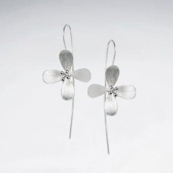 Four Point Matte Silver Flower Threader Earrings