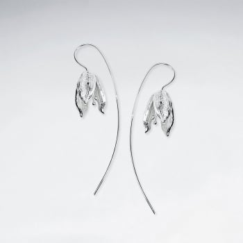 Garden Daybreak Flower Threader Earrings in Matte Silver