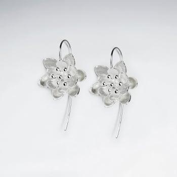 Garden Fashions Matte Silver 3D Flower  Hook Earrings