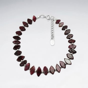 Garnet Cut & Sterling Silver Bracelet