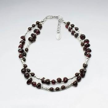 Garnet & Sterling Silver Bead Double Strand Bracelet