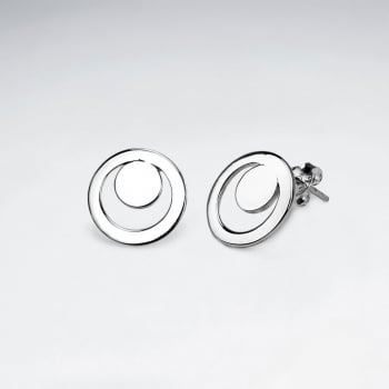 GeoCircle Openwork Silver Stud Earrings