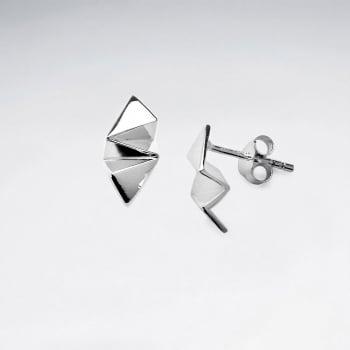 GeoCrinkle Sterling Silver Stud Earrings