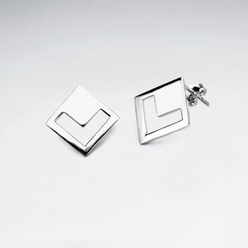 GeoMarqis Openwork Silver Chevron Stud Earrings