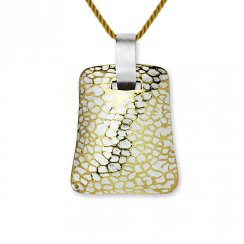 Geometric Crackled Silver Pendant
