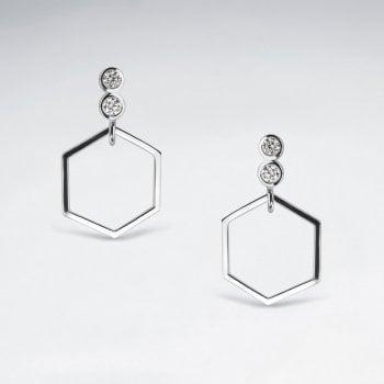 Geometric Open Hexagon CZ Dangle Earrings