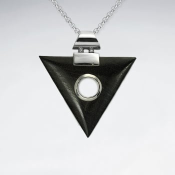 Geometric Silver Triangle Wood Pendant